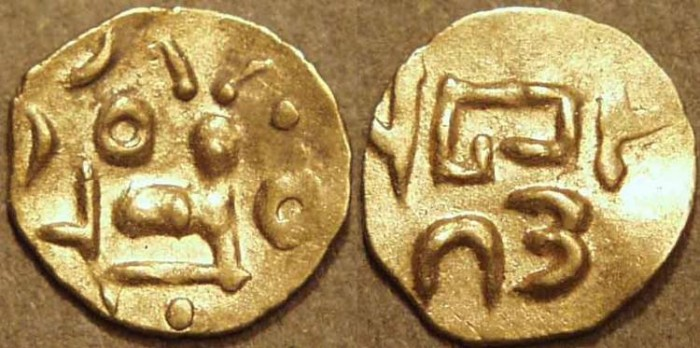 Ancient Coins - INDIA, EASTERN GANGAS, Anonymous Gold fanam, Year 12. RARE & SUPERB!