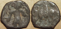 "Ancient Coins - INDIA, KUSHAN: Vasudeva I AE reduced weight tetradrachm, with additional ""delta"" symbol. RARE and CHOICE!"