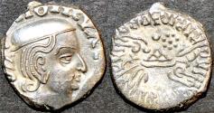 Ancient Coins - INDIA, WESTERN KSHATRAPAS: Vijayasena (239-250 CE) Silver drachm, as Mahakshatrapa, year S. 167. SUPERB!