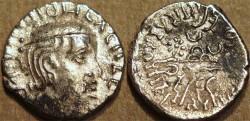 Ancient Coins - INDIA, WESTERN KSHATRAPAS: Damasena (223-236 CE) Silver drachm, as Mahakshatrapa, year S. 147, sun left and moon right. RARE!