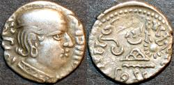 Ancient Coins - INDIA, WESTERN KSHATRAPAS: Jivadaman (c.197-198 CE) Silver drachm, Legend A, year S. 119. VERY RARE and CHOICE!