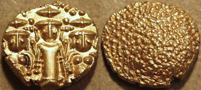 """Ancient Coins - BRITISH INDIA, Madras Presidency: (c. 1740-1807) Gold """"3-swami"""" pagoda, late type. SUPERB!"""