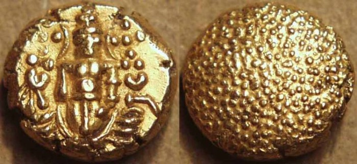 Ancient Coins - DUTCH INDIA: Gold Pulicat pagoda.Standing Venkateswara type. SCARCE + SUPERB!