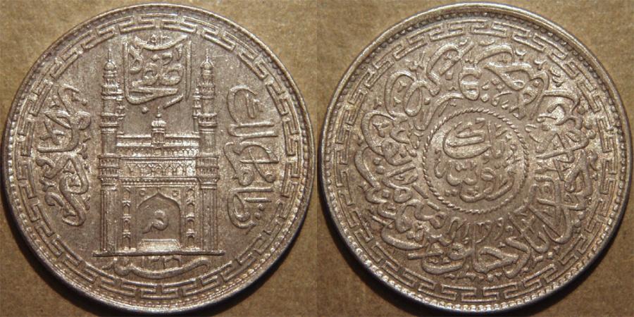 World Coins - INDIA, HYDERABAD, Mir Mahbub Ali Khan (1868-1911) Charminar Series Silver rupee, Hyderabad, AH 1326, RY 41. SUPERB!