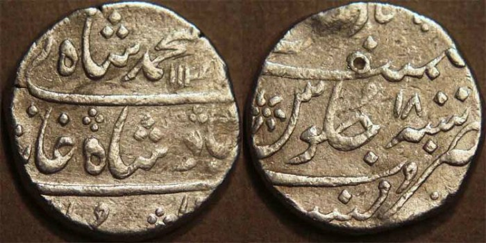 World Coins - BRITISH INDIA, BOMBAY PRESIDENCY: Silver rupee in the name of Muhammad Shah (1719-1748), Munbai, RY 18. SCARCE!