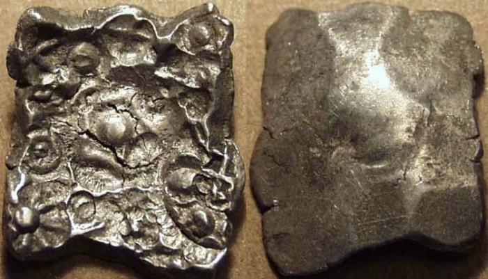Ancient Coins - INDIA, SHAKYA janapada, c. 5th century BCE, Silver 5-shana, Hirano I.8 type (pentagonal). RARE!