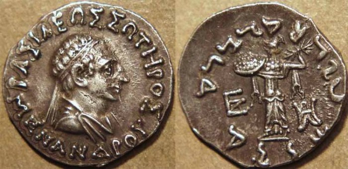 Ancient Coins - INDO-GREEK: Menander I Silver drachm, bare-headed type. SUPERB!