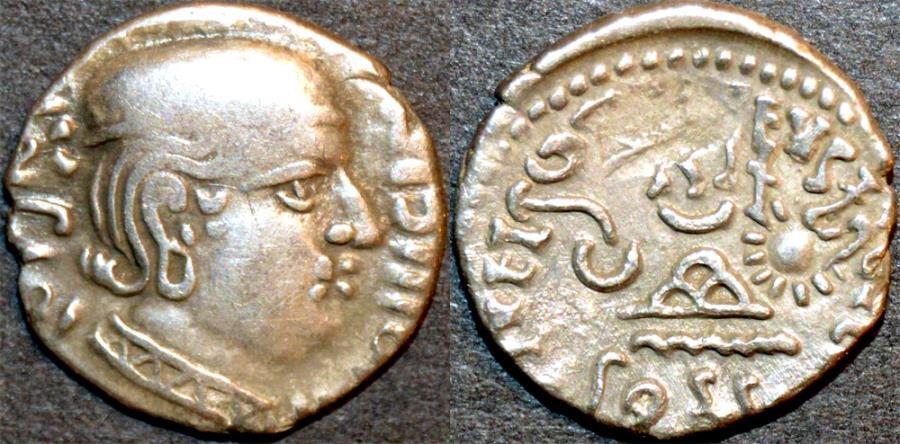 Ancient Coins - INDIA, WESTERN KSHATRAPAS: Jivadaman (c.197-198 CE) Silver drachm, Legend A, year S. 119. VERY RARE and CHOICE!