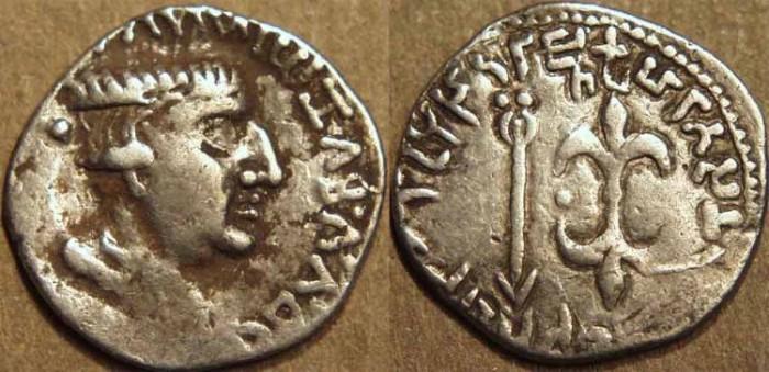 Ancient Coins - INDIA, WESTERN KSHATRAPAS: Nahapana (105-125) Silver drachm. CHOICE!