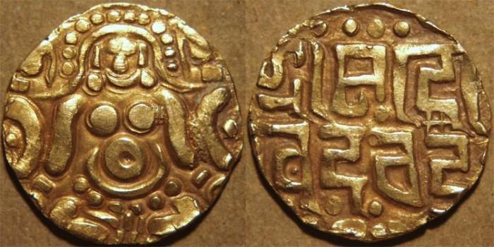 World Coins - INDIA, GAHADAVALAS of KANAUJ: Govinda Chandra Gold 4+1/2 masha. SCARCE+CHOICE!
