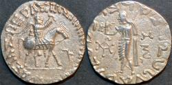 Ancient Coins - INDO-SCYTHIAN, AZES II Silver tetradrachm, Zeus left type, Senior 105.342T variant. UNLISTED and CHOICE!