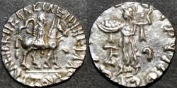 Ancient Coins - INDO-SCYTHIAN, AZES I Silver drachm, Senior 90, with Athena reverse. SCARCE & CHOICE!
