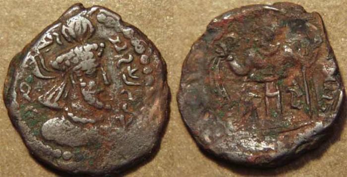 Ancient Coins - INDIA, KUSHANO-SASANIAN, Varhran I Kushanshah: Copper drachm, neat type. SCARCE & CHOICE!