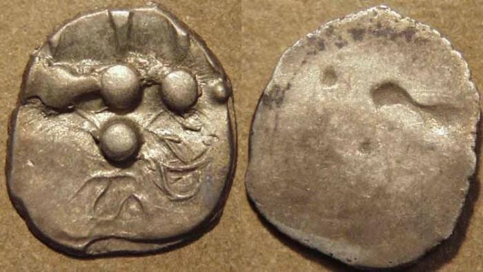 Ancient Coins - INDIA, UNKNOWN KINGDOM IN SIND OR MULTAN, Silver unit with Brahmi Ha Ma. CHOICE!