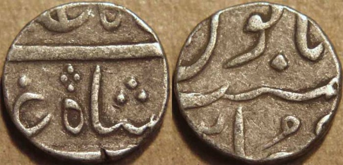 World Coins - INDIA, NAWABS of SURAT, Silver half rupee in the name of Shah Alam II, Surat, RY 31. CHOICE!