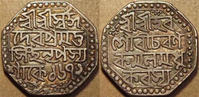 Ancient Coins - INDIA, ASSAM: Pramatha Simha Silver octagonal Rupee, dated S.1672. SUPERB!