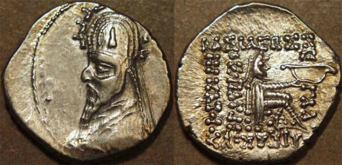 Ancient Coins - PARTHIA, GOTARZES I (c 95-90 BCE) Silver drachm, Ecbatana?, Sell 33 var. UNLISTED TYPE, SUPERB!