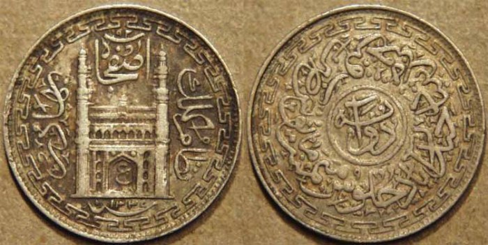 World Coins - INDIA, HYDERABAD, Mir Usman Ali Khan (1911-48) First Series Silver 2 annas (1/8 rupee), Hyderabad, AH 1337, RY 9. CHOICE!