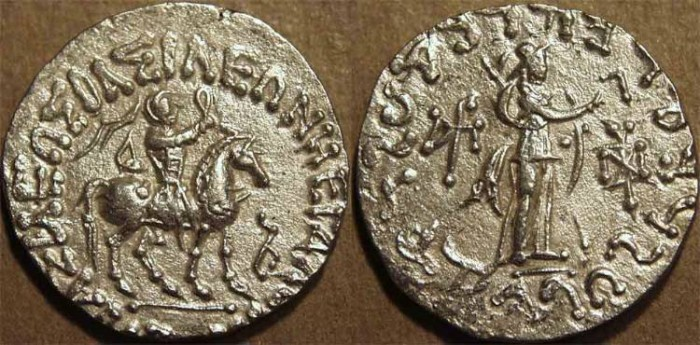 Ancient Coins - INDO-SCYTHIAN, AZES II Silver tetradrachm, Athena reverse. CHOICE!
