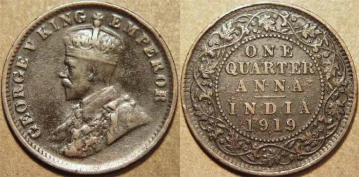 British India George V Ae 1 4 Anna 1919 Choice