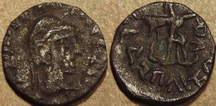 Ancient Coins - Indo-Greek: Bhadrayasha base AR drachm. RARE!
