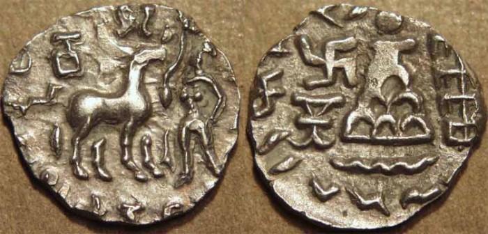 Ancient Coins - INDIA, KUNINDA, Amoghabhuti Silver drachm. CHOICE!