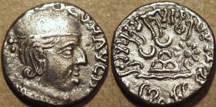 Ancient Coins - INDIA, WESTERN KSHATRAPAS: Damazada II (Damaysada c.150-170 CE) Silver drachm. RARE and CHOICE!