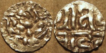 World Coins - INDIA, KALACHURIS of RATNAPUR: Ratna Deva Gold 1+1/8 masha. RARE+CHOICE!