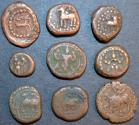 World Coins - SOUTH INDIA, unattributed copper coins, lot of 9