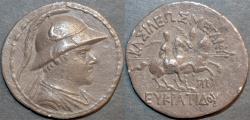 Ancient Coins - BACTRIA, Eukratides (Eucratides) AR tetradrachm, helmeted type. BARGAIN-PRICED!