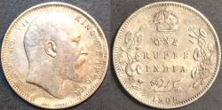 Ancient Coins - BRITISH INDIA, Edward VII AR rupee, Calcutta, 1908, CHOICE!