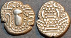 Ancient Coins - INDIA, CHALUKYAS of GUJARAT, Anonymous Silver drachm (gadhaiya paisa), dumpy type. SUPERB!