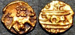 "Ancient Coins - INDIA, MYSORE, Krishna Raja Wodeyar (1799-1868): Gold ""Kanthirava"" fanam, CHOICE!"