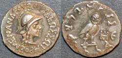 Ancient Coins - INDO-GREEK: Menander I Silver drachm, owl type, Bop 2C. RARE & SUPERB!