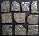 Ancient Coins - INDIA, MAGADHA-MAURYA: Unattributed Punchmarked AR karshapanas. Lot of 10