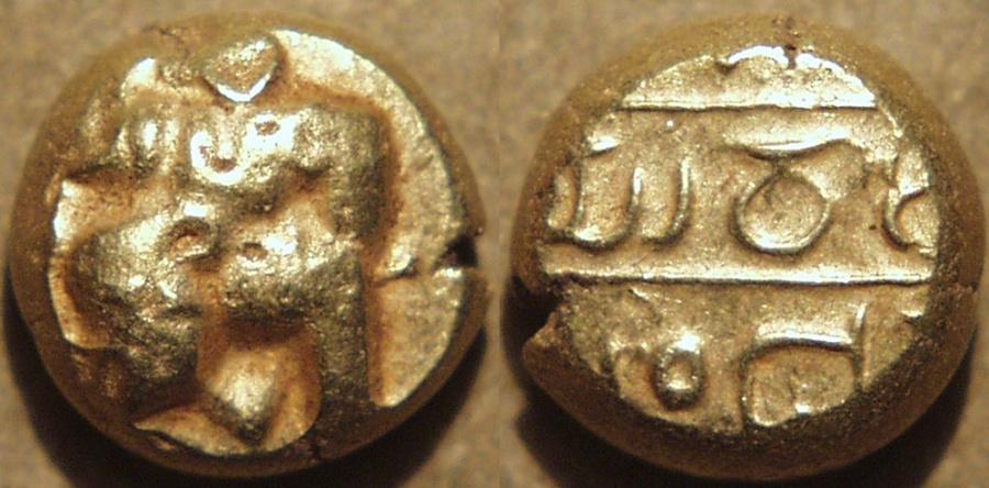 "World Coins - INDIA, Nidugal Cholas: Irungola II ""Danava Murari"" Gold pagoda, Hanuman type. RARE and CHOICE!"