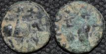 INDO-SCYTHIAN, AZES II Silver or Billon drachm, Zeus left type, Senior 105 type. BARGAIN-PRICED!