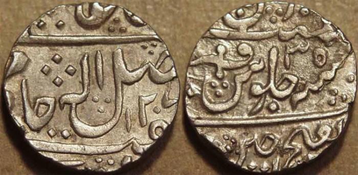 Ancient Coins - INDIA, GWALIOR, Mahadji Rao (1761-94) Silver rupee in the name of Shah Alam II, Ujjain, AH 1207, RY 35. CHOICE!