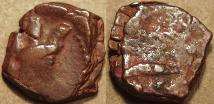 Ancient Coins - INDIA, KUSHANO-SASANIAN, Shapur II: Copper drachm, heavy type.