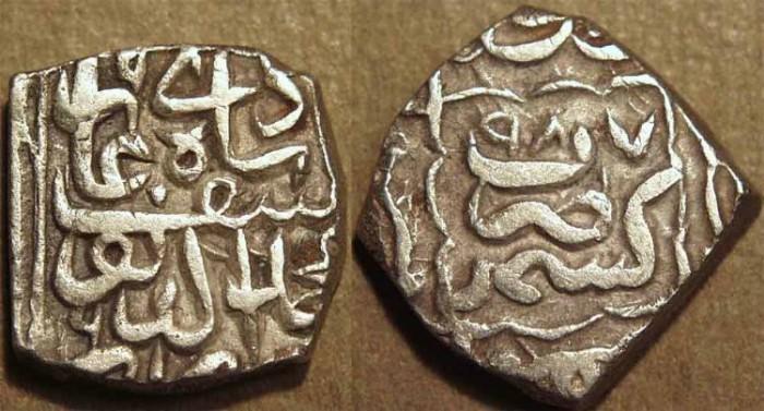 Ancient Coins - INDIA, KASHMIR SULTANS, Muhammad Yusuf Shah (1579-86) Silver sasnu. SCARCE + CHOICE!