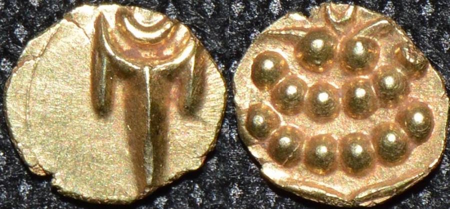 World Coins - INDIA, MARATHAS of THANJAVUR: Anonymous Gold fanam, c. 1678-1800. CHOICE!