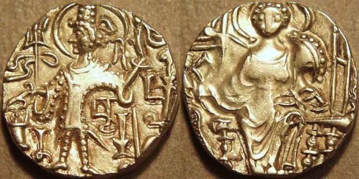 Ancient Coins - INDIA, Kushan: Kipanada Gold dinar, Bacharnatha under arm. CHOICE!