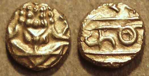 Ancient Coins - INDIA, MYSORE, Kanthirava Narasa (1638-62) Gold fanam. EXTRAORDINARY!
