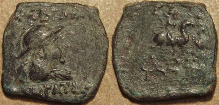 Ancient Coins - INDO-GREEK, Eucratides AE chalkous. RARE!