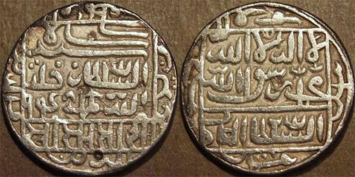 Ancient Coins - INDIA, DELHI SULTANATE, Sher Shah Suri (1538-45) Silver rupee, mintless type, AH 948. CHOICE!