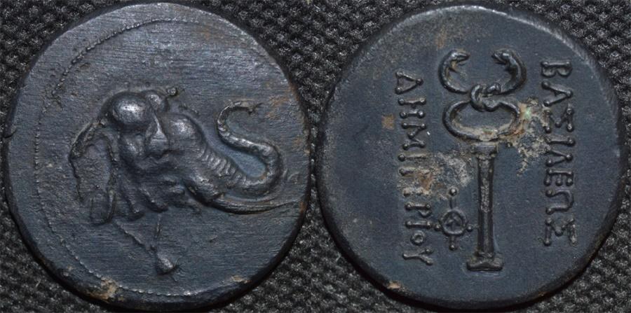 Ancient Coins - Bactrian Kingdom: Demetrius (Demetrios) I AE tri-chalkon or triple unit: Elephant head/caduceus. CHOICE!