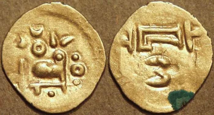 World Coins - INDIA, EASTERN GANGAS, Bhanudeva III ? (1352-78) Gold fanam, Year 2. RARE & SUPERB!