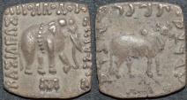 INDO-GREEK: Apollodotus I (Apollodotos I) square Silver drachm, Elephant/Bull type. CHOICE!