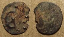 Ancient Coins - INDIA, KADAMBAS of BANAVASI: Anepigraphic potin unit, chakra type, with dotted border. RARE and CHOICE!