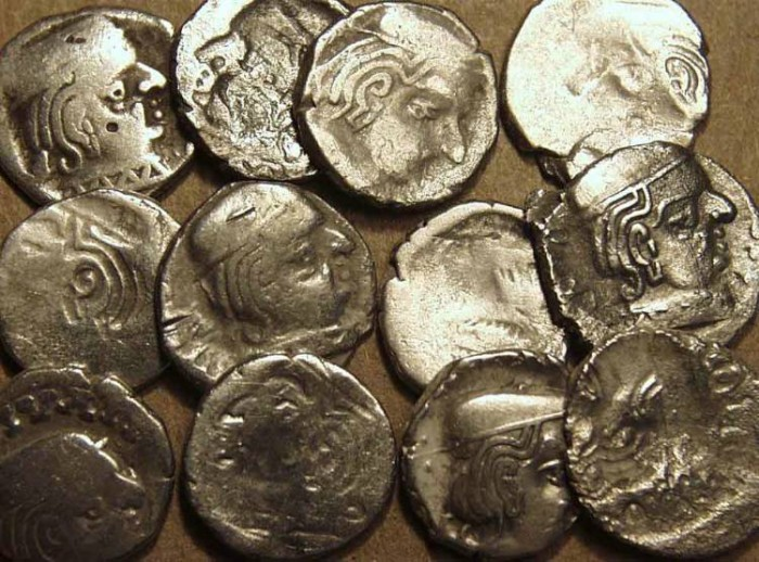 Ancient Coins - INDIA, WESTERN KSHATRAPAS: Various Rulers, Brockage coins